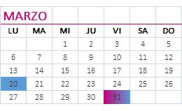 Calendario marzo 2017
