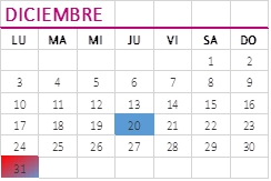 calendario obligaciones diciembre 2018