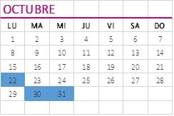 calendario obligaciones octubre 2018